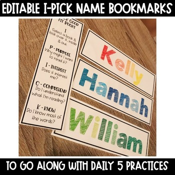 I-Pick Daily 5 EDITABLE Name Bookmarks
