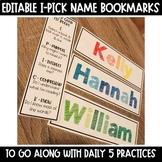 I-Pick Daily 5 EDITABLE Name Bookmarks