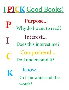 I PICK Reading Choice Poster