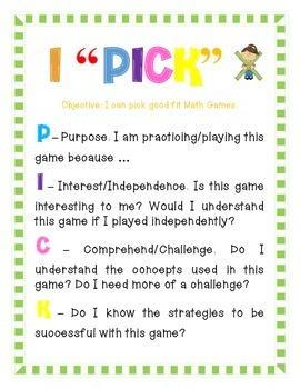 "I ""Pick"" -- Math Game Anchor Chart"