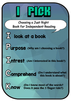 I Pick Poster - Choosing 'Just Right' Books