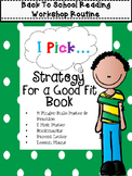 I Pick Reading Workshop Strategy Bookmarks, Posters & More