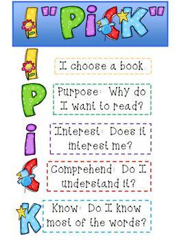 """I Pick"" reading strategies poster"