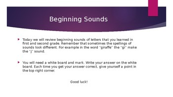 I-READ Beginning Sounds Power Point Practice