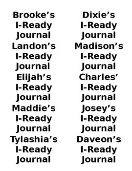 I-Ready Journal Graphs & Labels