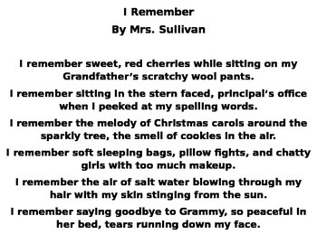 """I Remember"" Poetry"