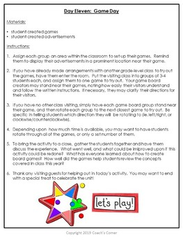 """End of the Year Project:  """"Create Your Own Board Game"""" Review Unit"""