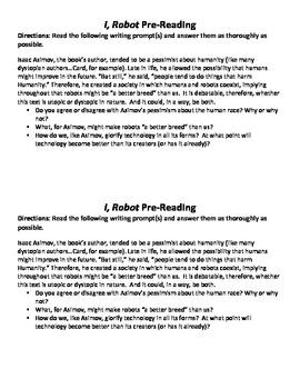 """I, Robot"" Pre-Reading Mini-Essay"