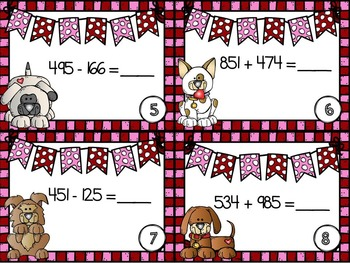 I Ruff You Regrouping: Addition & Subtraction Task Cards