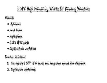 I SPY High Frequency Words - Kindergarten Reading Wonders Units 6-10
