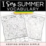 I SPY SUMMER VOCABULARY - NO PREP WORKSHEETS FOR LANGUAGE