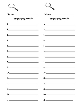 I SPY Sight Words recording sheet