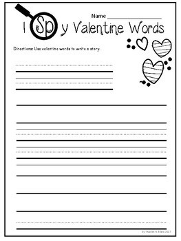 I SPY Valentine's Day Hidden Words with a Magnifying Glass Writing Activity