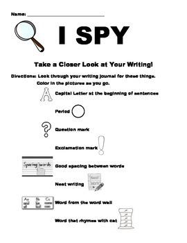 I SPY Writing Journal Activity
