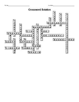 I Saluti Greetings in Italian Crossword