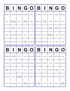 I Saluti Tombola Italian Greetings Bingo