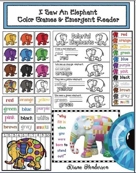 """Color Activities: """"I Saw An Elephant!"""" Games & Emergent Reader"""