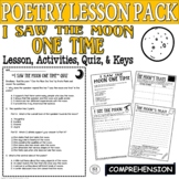 I Saw the Moon One Time: Common Core Poetry Test Prep Lesson, Quiz, Activities