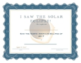 I Saw the Solar Eclipse Certificate