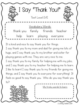 """I Say """"Thank You"""" CCSS Aligned Leveled Reading Passages and Activities"""