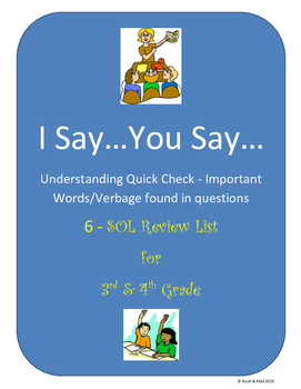 I Say...You Say...Quick Check for Understanding - Importan
