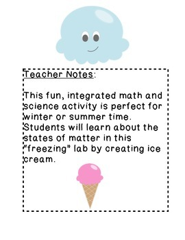 I Scream for Ice Cream How to Make Ice Cream Measurement and Matter Yummy Lab