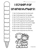 I Scream for Ordinal Numbers! Ordinal Numbers to 10 Worksheet