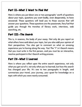 English: Writing An I-Search Essay Grades 6 - 12