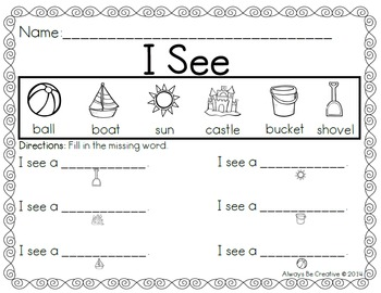 I See A - Emergent Reader (one to one correspondence)