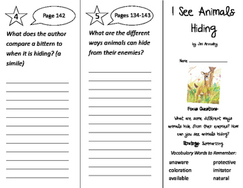 I See Animals Hiding Trifold - Imagine It 2nd Grade Unit 4 Week 5