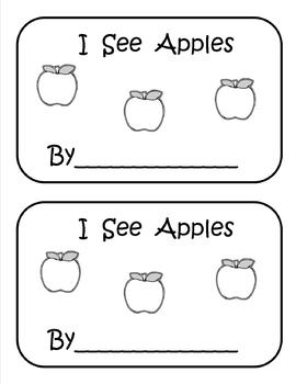 I See Apples emergent reader-emergent writer booklet and poem