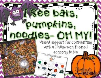 I See Bats, Pumpkins, Noodles- OH MY! {Sensory Table Visua