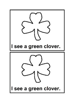 I See Clovers black and white Emergent Reader book for Preschool & Special Ed