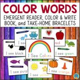 Color Words Emergent Reader, Student Booklet, & Bracelets