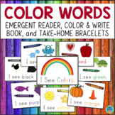 Color Words Activities - Emergent Reader, Student Booklet, & Bracelets