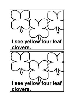 I See Four Leaf Clovers Emergent Reader Book Black & white for Preschool