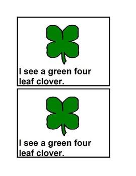 I See Four Leaf Clovers Emergent Reader book in color for Preschool