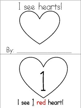 I See Hearts! - Emergent Reader, Counting, Number Recognition Book