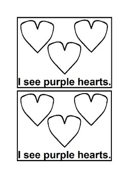 I See Hearts Emergent Readers Black & white for Valentine's Day for Preschool