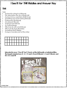 Coloring Worksheet and Book for the Articulation of THR FREEBIE:  I See It!