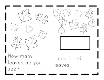 I See LEAVES! A Printable Fall Booklet- Counting with Tens Frames