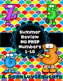 Summer Review NO PREP PK-K Numbers 1-10