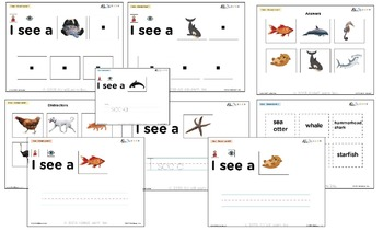 I See Ocean Habitat Adapted Book - Matching, Guided Printing, & Writing
