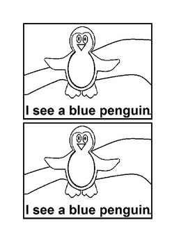 I See Penguins Colors Emergent Reader Book in Black & White for Preschool