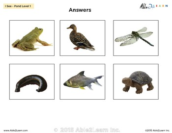 I See Pond Habitat Adapted Book - Matching, Guided Printing, & Writing