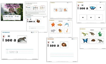 I See Rainforest Habitat Adapted Book - Matching, Guided Printing, & Writing