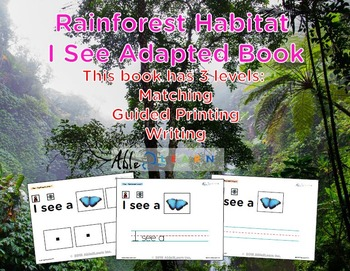 I See Rainforest Habitat Adapted Book - Matching, Guided P