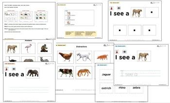 I See Savannah Habitat Adapted Book - Matching, Guided Printing, & Writing