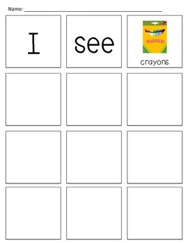 """I See School Supplies"" Build-a-Book Sight Word Reader & Center"
