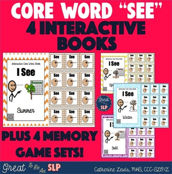 I See: Seasons - 4 Core Word Interactive Books & 4 Memory Game Sets